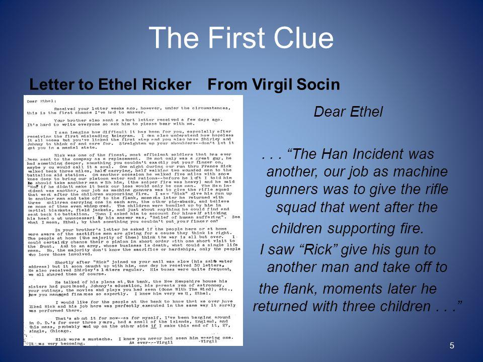 Letter to Ethel Ricker From Virgil Socin Dear Ethel...