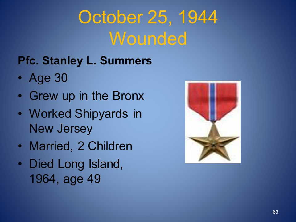 October 25, 1944 Wounded Pfc. Stanley L.
