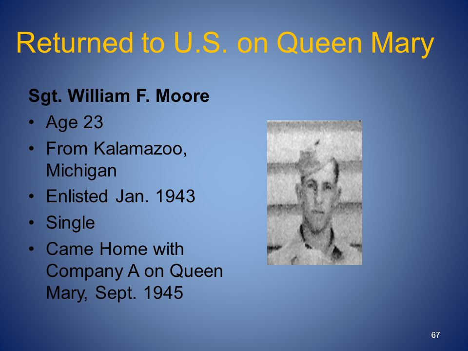 Returned to U.S. on Queen Mary Sgt. William F. Moore Age 23 From Kalamazoo, Michigan Enlisted Jan. 1943 Single Came Home with Company A on Queen Mary,