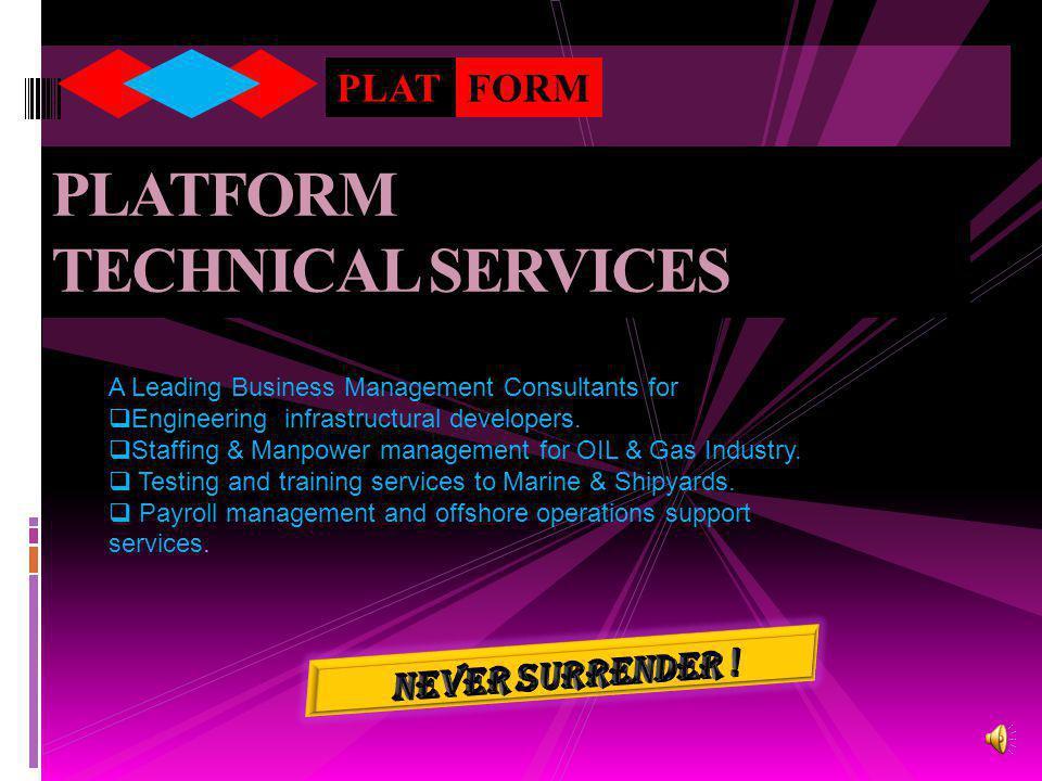 PLATFORM TECHNICAL SERVICES PLATFORM A Leading Business Management Consultants for  Engineering infrastructural developers.