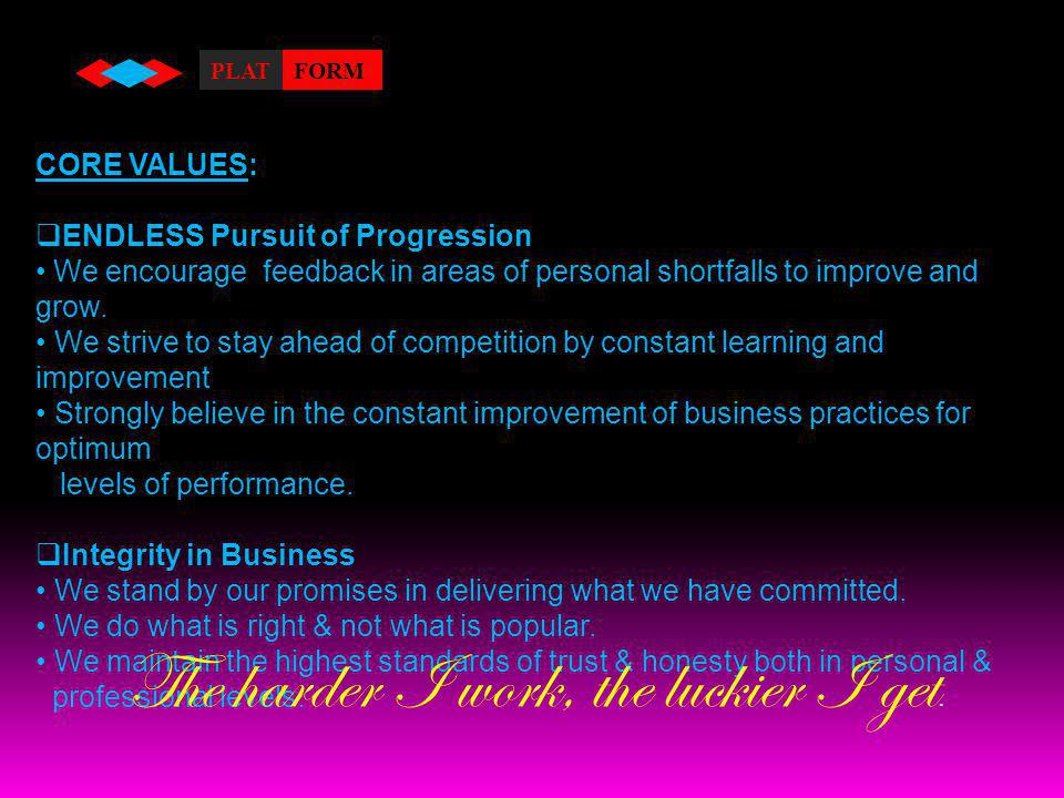 OUR VISION : TO BE THE MARKET LEADER IN THE FIELD OF MANPOWER MANAGEMENT AND STAFFING SERVICES.