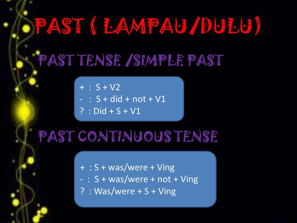 PAST ( LAMPAU/DULU) PAST TENSE /SIMPLE PAST PAST CONTINUOUS TENSE + : S + V2 - : S + did + not + V1 .