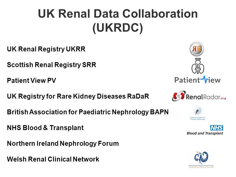 UK Renal Registry UKRR Scottish Renal Registry SRR Patient View PV UK Registry for Rare Kidney Diseases RaDaR British Association for Paediatric Nephrology BAPN NHS Blood & Transplant Northern Ireland Nephrology Forum Welsh Renal Clinical Network UK Renal Data Collaboration (UKRDC)