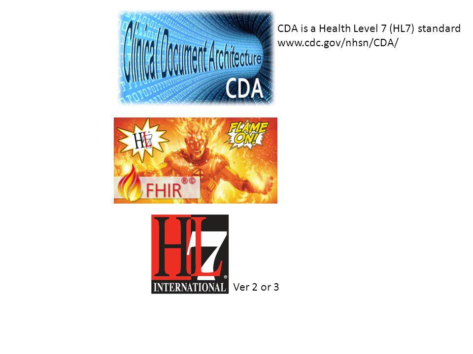 CDA is a Health Level 7 (HL7) standard www.cdc.gov/nhsn/CDA/ Ver 2 or 3