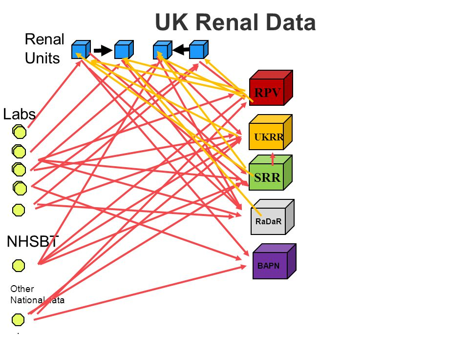 RPV. Labs Renal Units UKRR SRR RaDaR NHSBT Other National data BAPN UK Renal Data