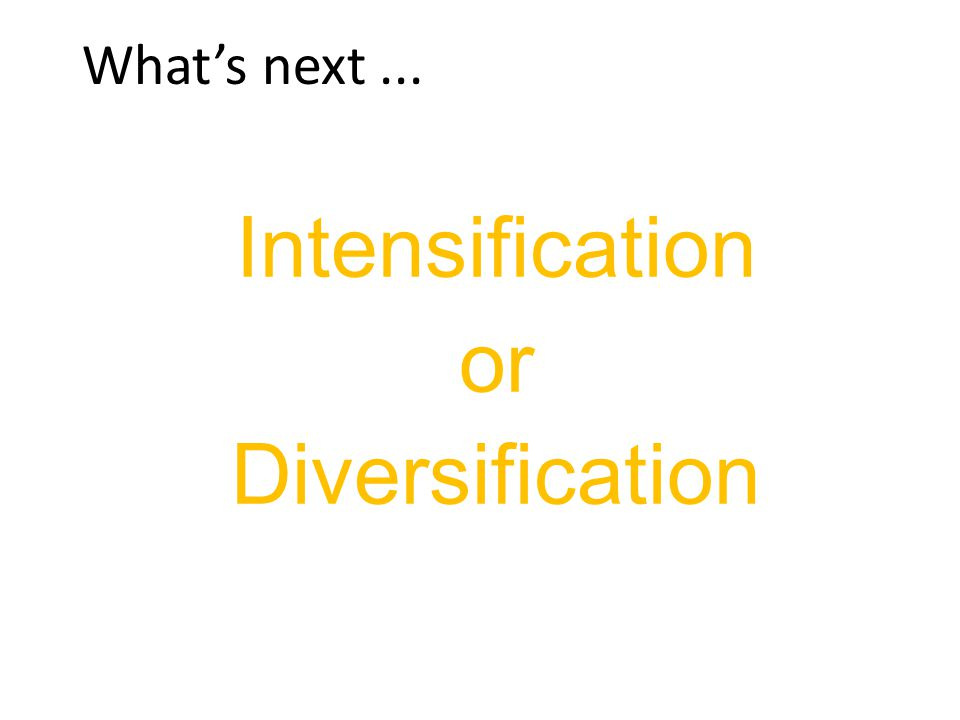 What's next... Intensification or Diversification