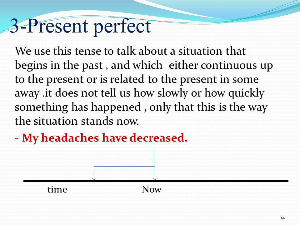 3-Present perfect We use this tense to talk about a situation that begins in the past, and which either continuous up to the present or is related to the present in some away.it does not tell us how slowly or how quickly something has happened, only that this is the way the situation stands now.