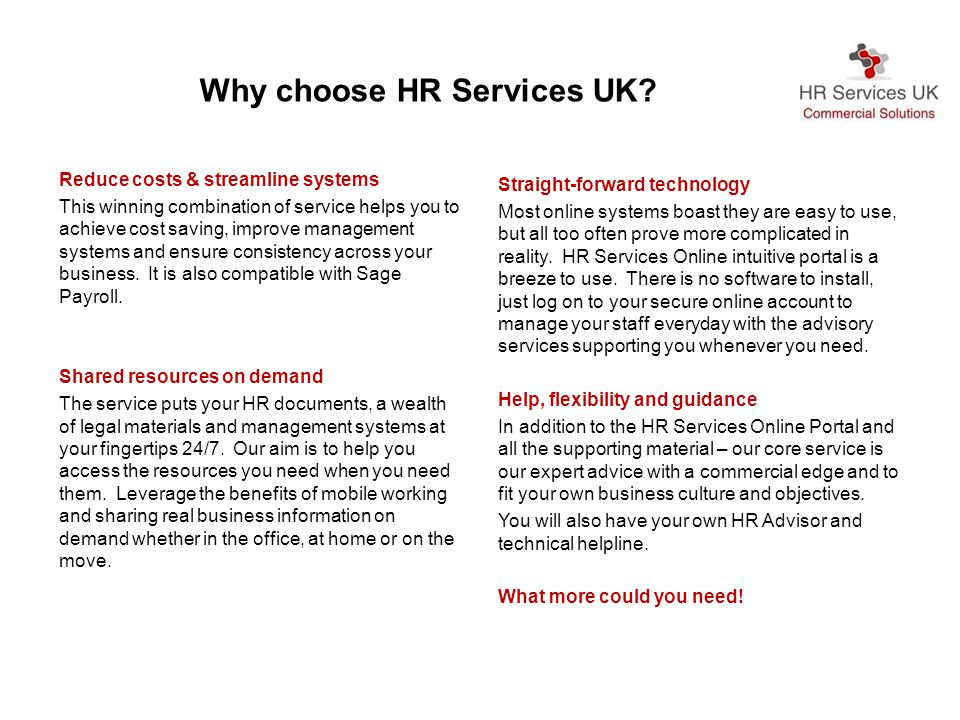Why choose HR Services UK.