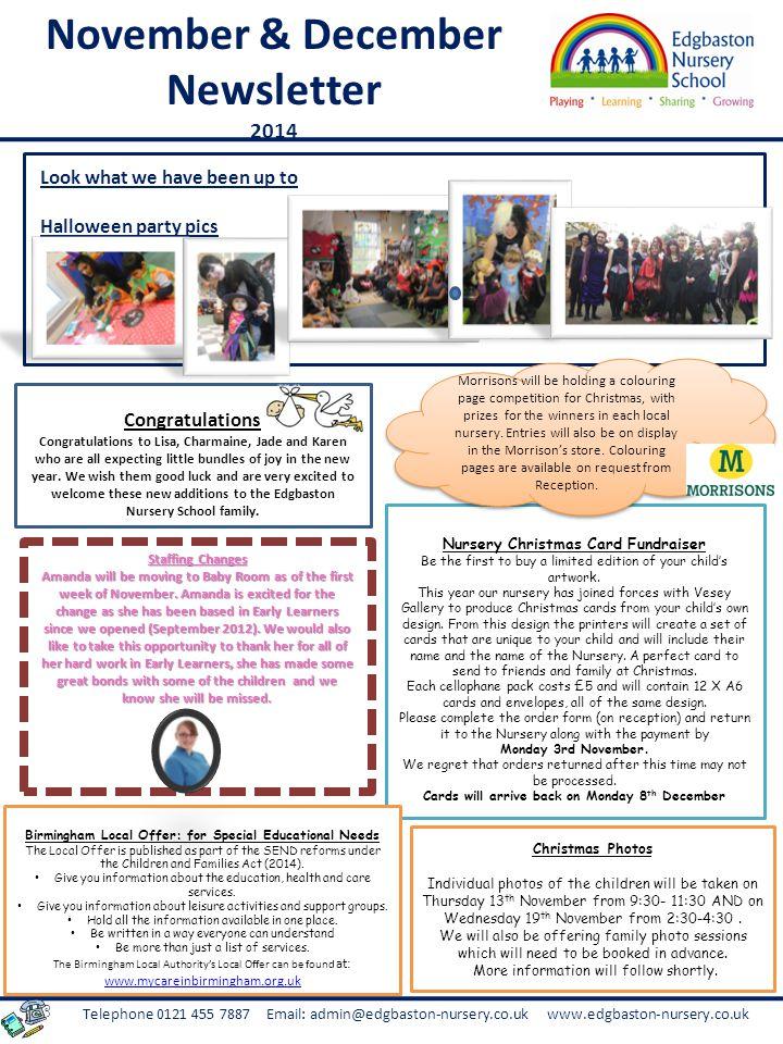 Telephone 0121 455 7887 Email: admin@edgbaston-nursery.co.uk www.edgbaston-nursery.co.uk Baby Room News Toddler Room News CAN YOU HELP.