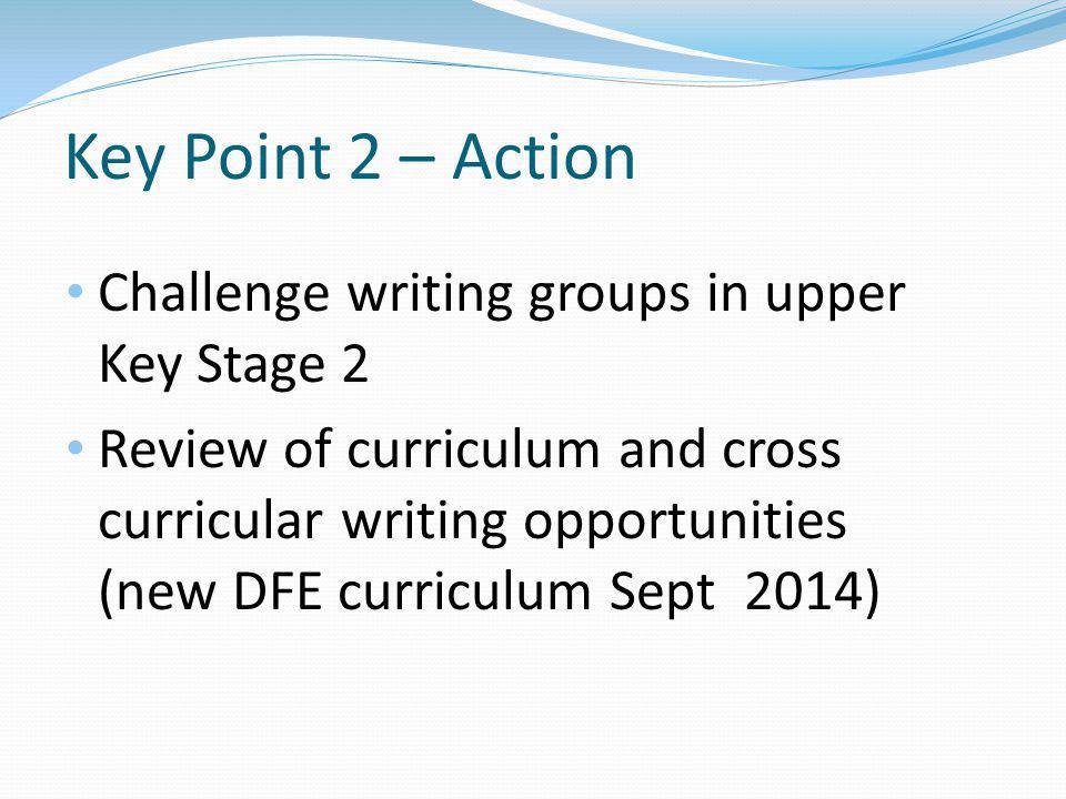 Key Point 2 – Action Challenge writing groups in upper Key Stage 2 Review of curriculum and cross curricular writing opportunities (new DFE curriculum Sept 2014)