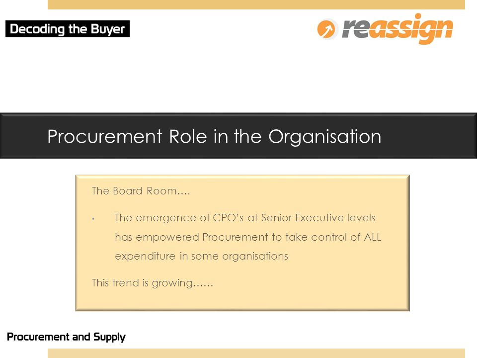 Procurement Role in the Organisation The Board Room….