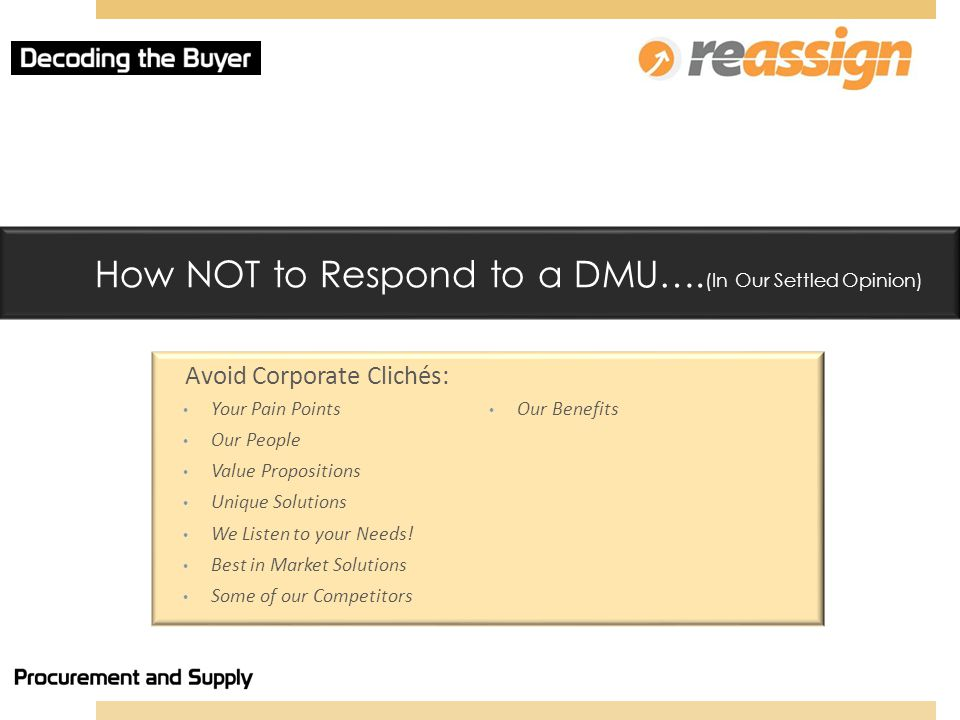 How NOT to Respond to a DMU….