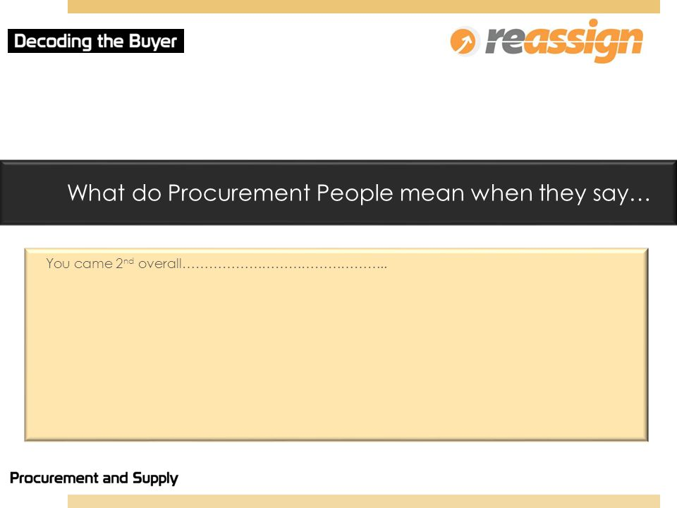 What do Procurement People mean when they say… You came 2 nd overall………………………………………..