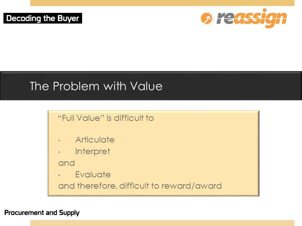The Problem with Value Full Value is difficult to Articulate Interpret and Evaluate and therefore, difficult to reward/award