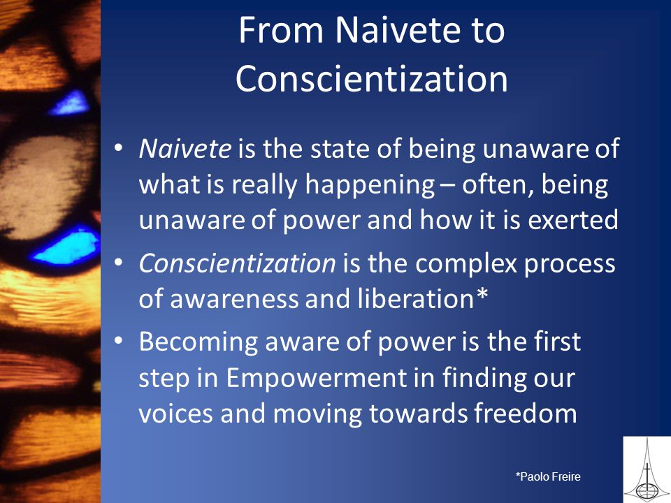 From Naivete to Conscientization Naivete is the state of being unaware of what is really happening – often, being unaware of power and how it is exerted Conscientization is the complex process of awareness and liberation* Becoming aware of power is the first step in Empowerment in finding our voices and moving towards freedom *Paolo Freire