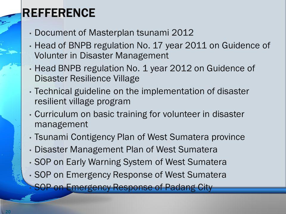 Document of Masterplan tsunami 2012 Head of BNPB regulation No.