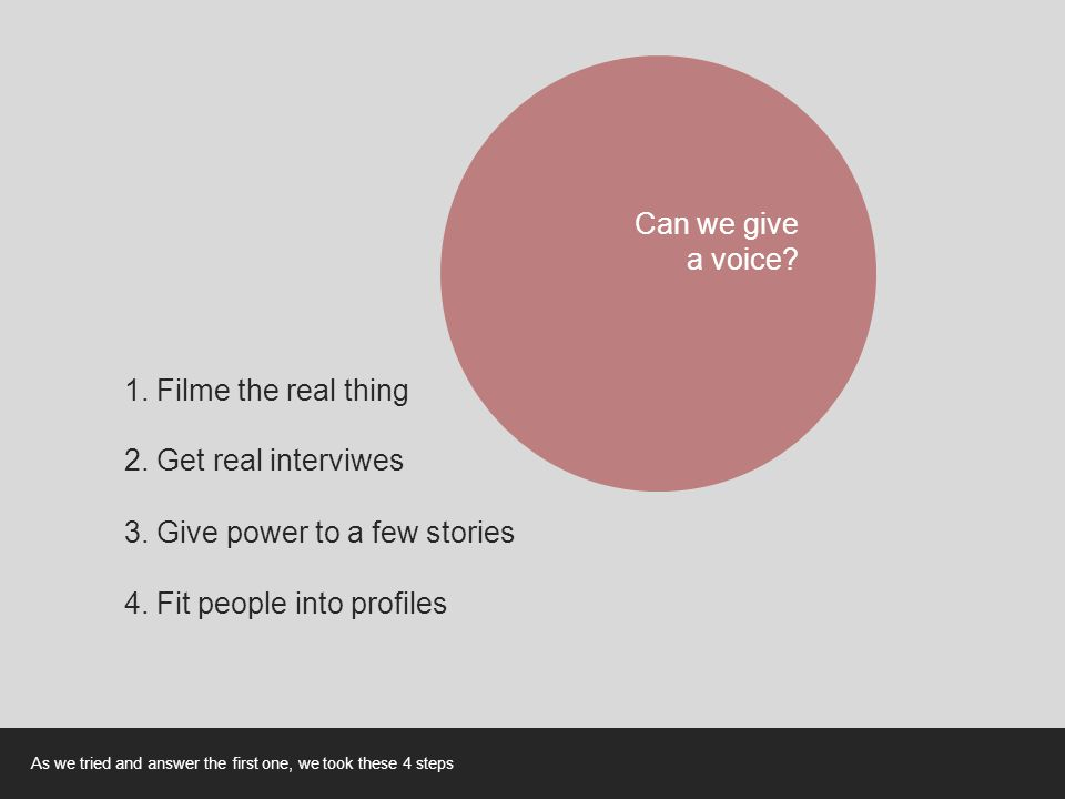 Can we give a voice? 1. Filme the real thing 2. Get real interviwes 3. Give power to a few stories 4. Fit people into profiles As we tried and answer