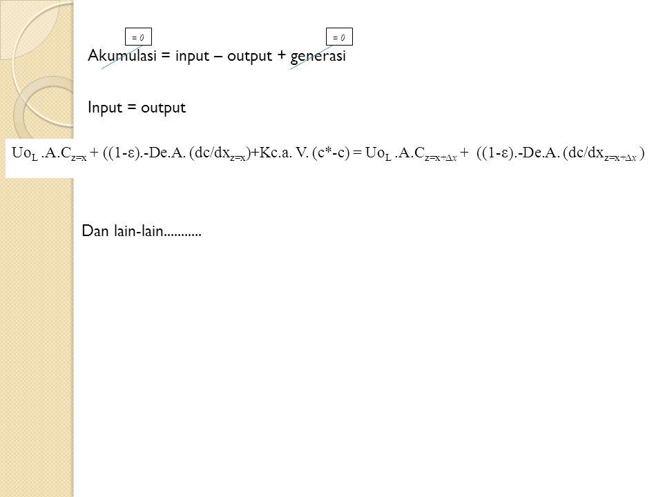 Uo L.A.C z=x + ((1-ε).-De.A.(dc/dx z=x )+Kc.a. V.