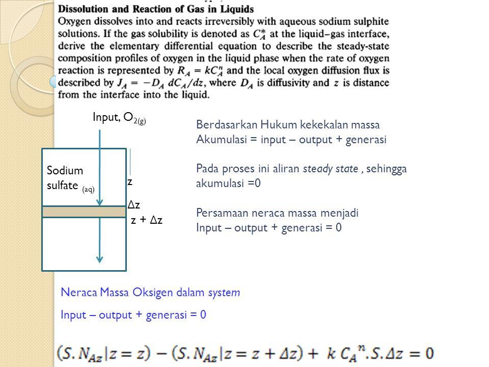 Input, O 2(g) z + Δ z Berdasarkan Hukum kekekalan massa Akumulasi = input – output + generasi Pada proses ini aliran steady state, sehingga akumulasi =0 Persamaan neraca massa menjadi Input – output + generasi = 0 Sodium sulfate (aq) z ΔzΔz Neraca Massa Oksigen dalam system Input – output + generasi = 0
