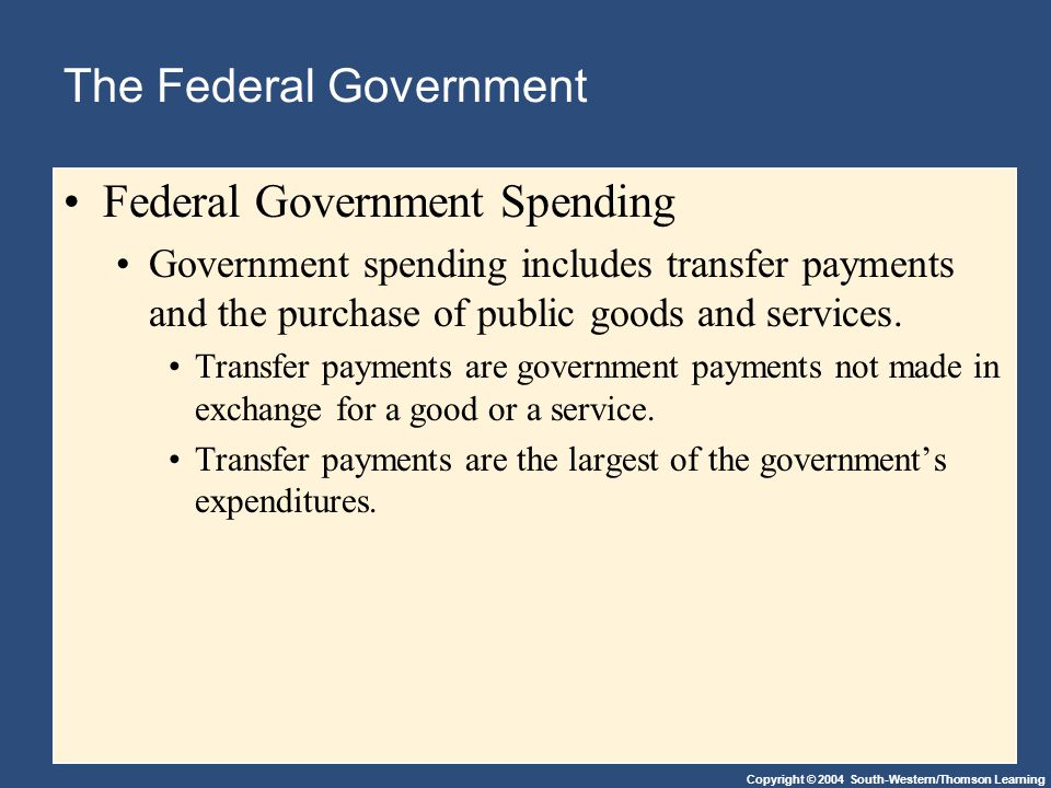Copyright © 2004 South-Western/Thomson Learning The Federal Government Federal Government Spending Government spending includes transfer payments and the purchase of public goods and services.