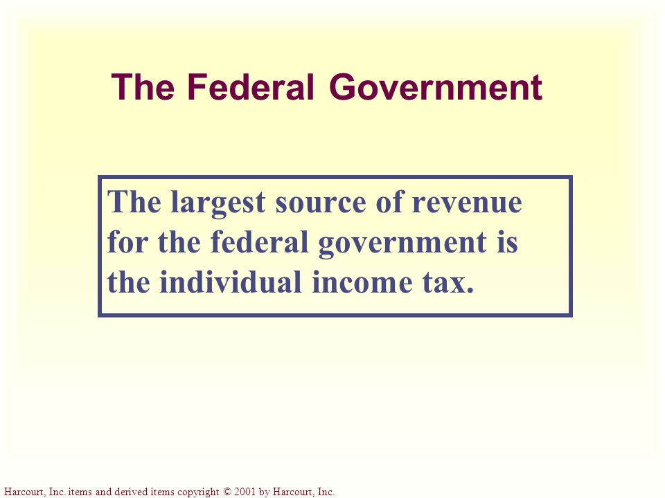 Harcourt, Inc. items and derived items copyright © 2001 by Harcourt, Inc. Three Tax Systems
