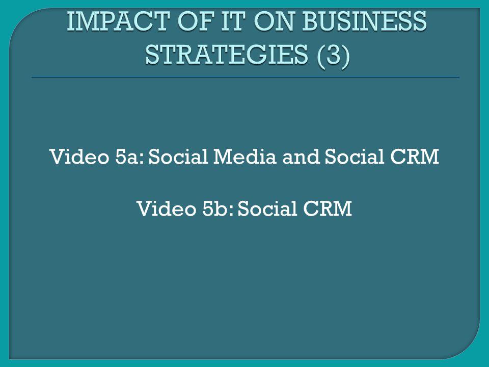 Video 5a: Social Media and Social CRM Video 5b: Social CRM