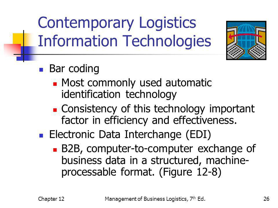 Chapter 12Management of Business Logistics, 7 th Ed.26 Contemporary Logistics Information Technologies Bar coding Most commonly used automatic identif