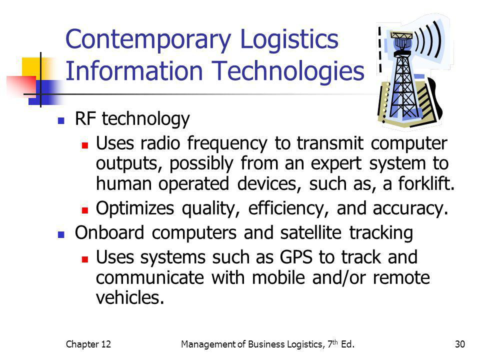 Chapter 12Management of Business Logistics, 7 th Ed.30 Contemporary Logistics Information Technologies RF technology Uses radio frequency to transmit