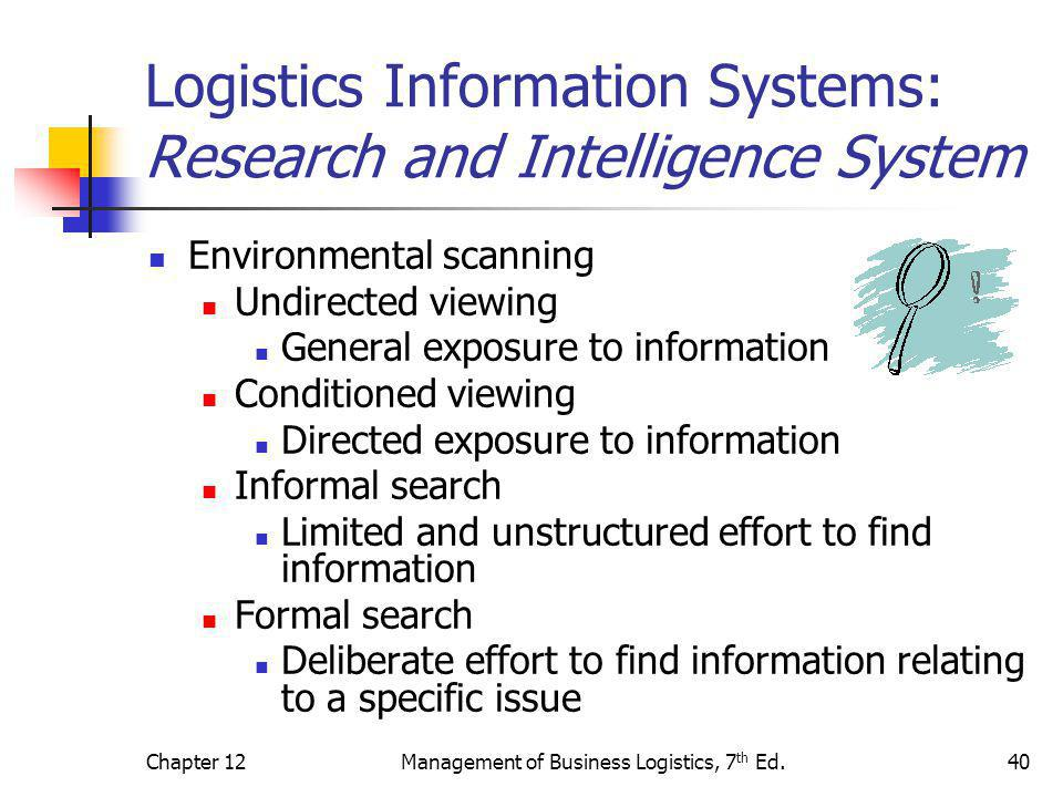 Chapter 12Management of Business Logistics, 7 th Ed.40 Logistics Information Systems: Research and Intelligence System Environmental scanning Undirect