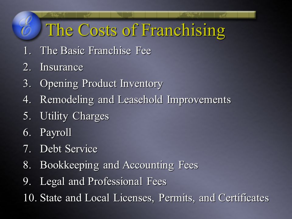 The Costs of Franchising 1.The Basic Franchise Fee 2.Insurance 3.Opening Product Inventory 4.Remodeling and Leasehold Improvements 5.Utility Charges 6.Payroll 7.Debt Service 8.Bookkeeping and Accounting Fees 9.Legal and Professional Fees 10.State and Local Licenses, Permits, and Certificates