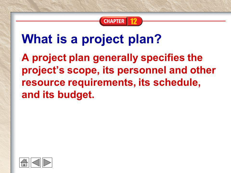 12 What is a project plan? A project plan generally specifies the project's scope, its personnel and other resource requirements, its schedule, and it