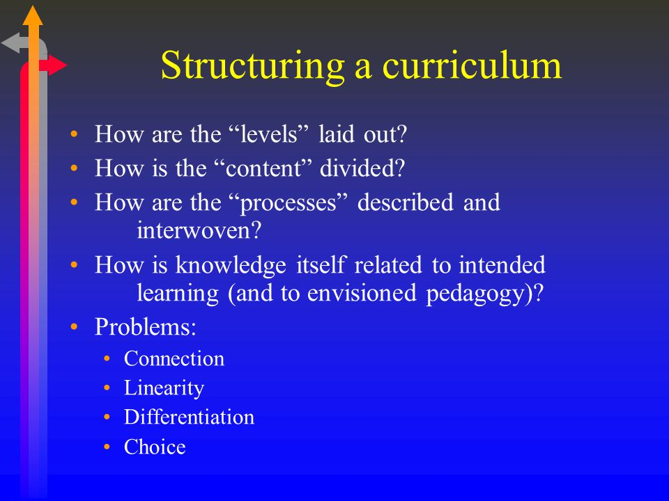 Structuring a curriculum How are the levels laid out.