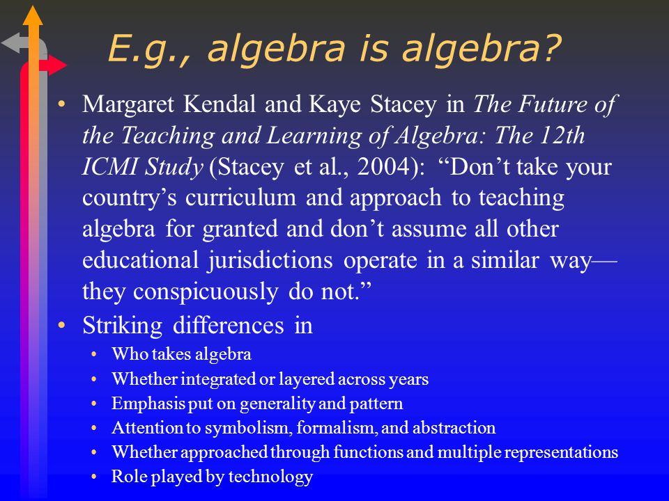 E.g., algebra is algebra.