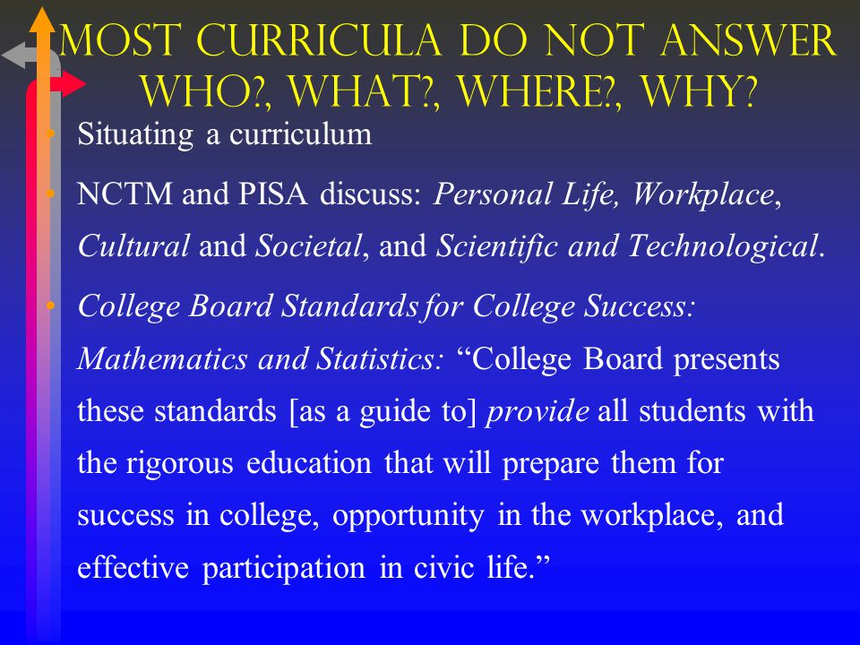 Recommendation 1 What is the purpose of the curriculum.