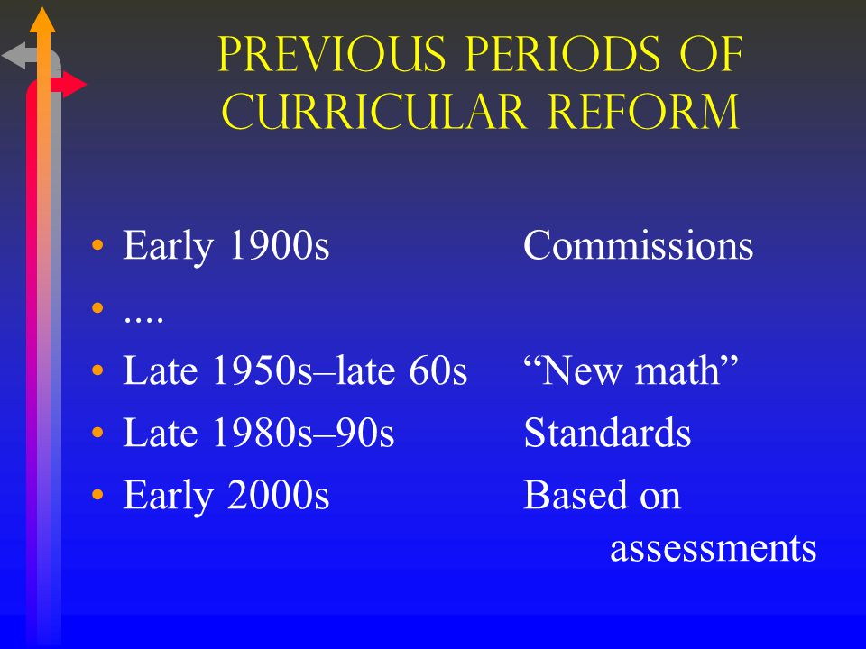 Today & Recent Past NCLB and state curriculum reforms College Board's Standards for College Success: Mathematics and Statistics (2009) NCTM Curriculum Focal Points (Pre-K–8) (2006) & Focus in High School Mathematics: Reasoning and Sense Making (9–12) (2009) NGA & CCSSO release draft of College- and Career-Readiness Standards (2009), the first stage of the Common Core State Standards Initiative -- a move toward a curriculum http://www.corestandards.org/