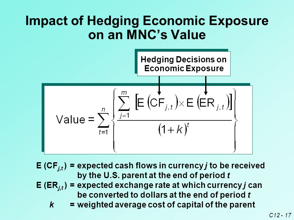 C12 - 17 Impact of Hedging Economic Exposure on an MNC's Value E (CF j,t )=expected cash flows in currency j to be received by the U.S.