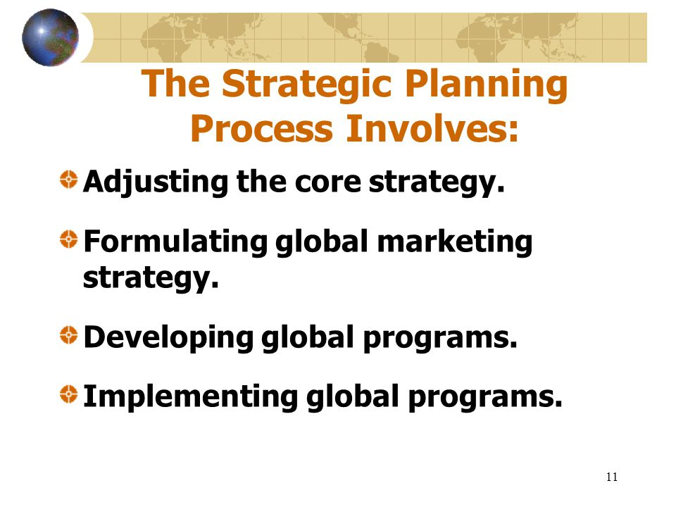 11 The Strategic Planning Process Involves: Adjusting the core strategy. Formulating global marketing strategy. Developing global programs. Implementi