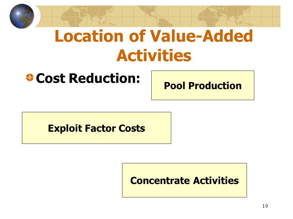 19 Location of Value-Added Activities Cost Reduction: Pool Production Exploit Factor Costs Concentrate Activities
