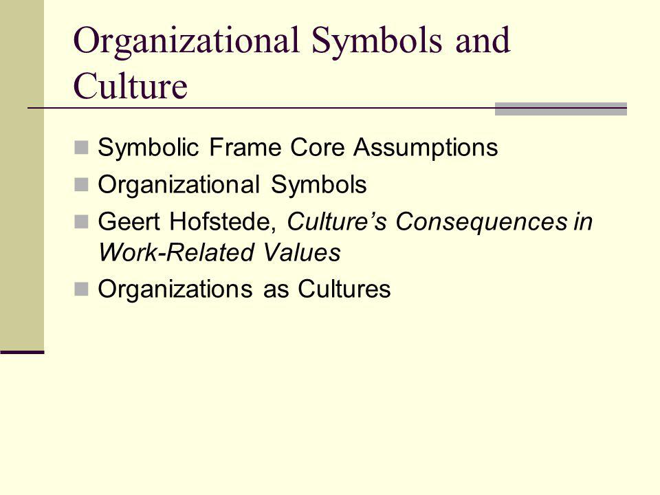 Core Assumptions of Symbolic Frame Most important – not what happens, but what it means Activity and meaning are loosely coupled People create symbols to resolve confusion, find direction, anchor hope and belief Events and processes more important for what is expressed than what is produced Culture provides basic organizational glue