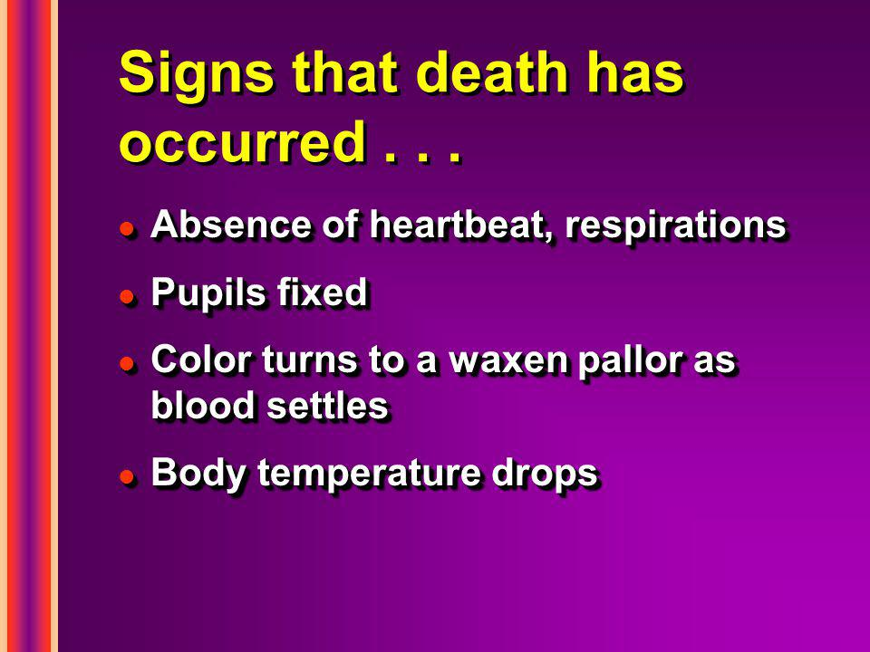 Signs that death has occurred...