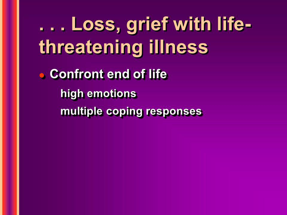 ... Loss, grief with life- threatening illness l Confront end of life high emotions multiple coping responses l Confront end of life high emotions mul