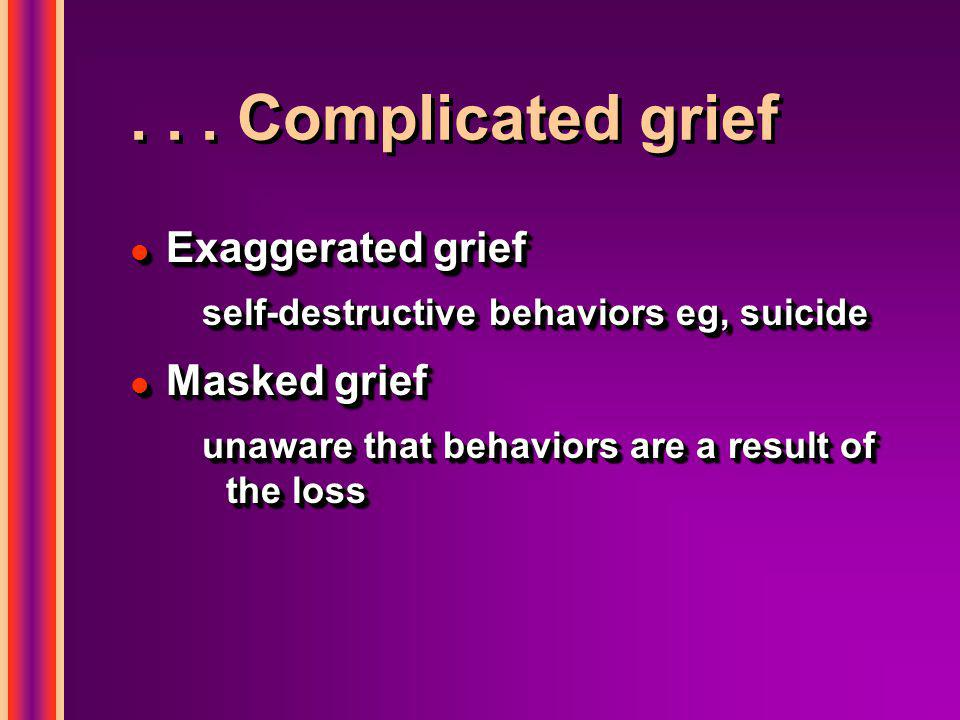... Complicated grief l Exaggerated grief self-destructive behaviors eg, suicide l Masked grief unaware that behaviors are a result of the loss l Exag