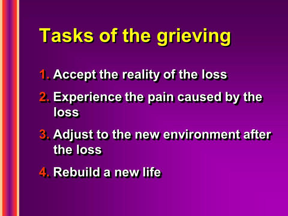 Tasks of the grieving 1. Accept the reality of the loss 2.