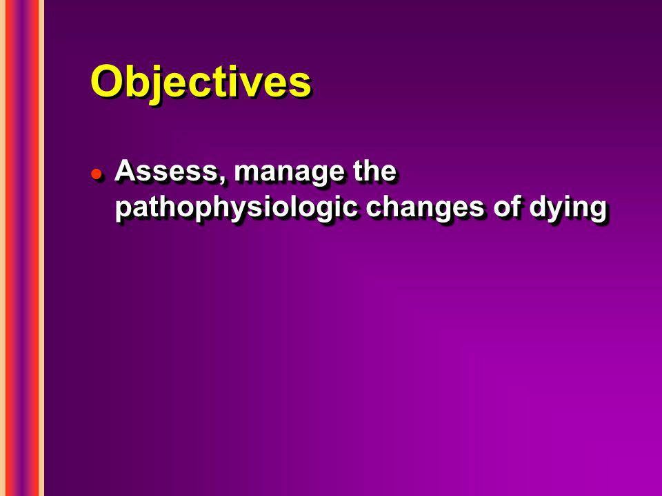 Objectives l Assess, manage the pathophysiologic changes of dying