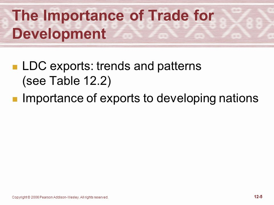 Copyright © 2006 Pearson Addison-Wesley. All rights reserved. 12-5 The Importance of Trade for Development n LDC exports: trends and patterns (see Tab