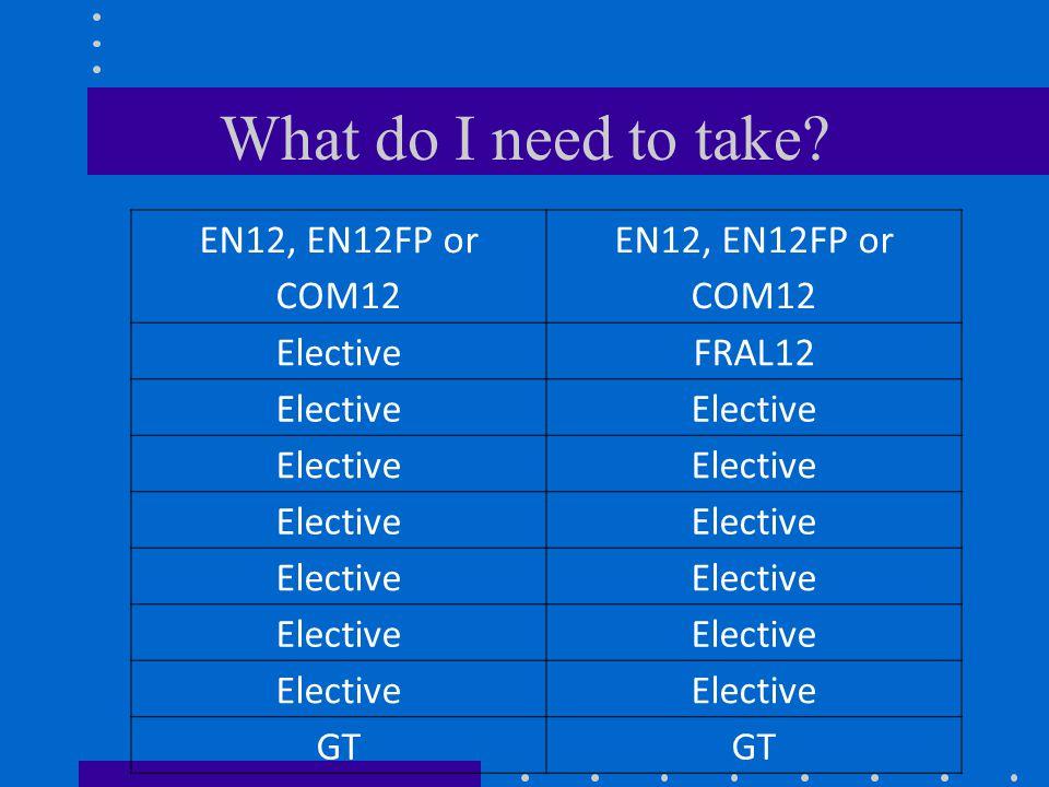 What do I need to take EN12, EN12FP or COM12 ElectiveFRAL12 Elective GT