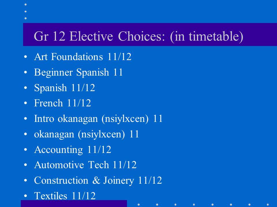Gr 12 Elective Choices: (in timetable) Art Foundations 11/12 Beginner Spanish 11 Spanish 11/12 French 11/12 Intro okanagan (nsiylxcen) 11 okanagan (ns