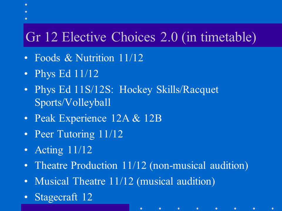 Gr 12 Elective Choices 2.0 (in timetable) Foods & Nutrition 11/12 Phys Ed 11/12 Phys Ed 11S/12S: Hockey Skills/Racquet Sports/Volleyball Peak Experien