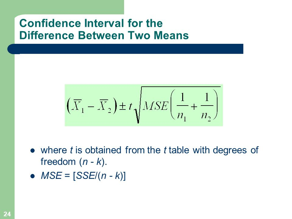 24 Confidence Interval for the Difference Between Two Means where t is obtained from the t table with degrees of freedom (n - k). MSE = [SSE/(n - k)]