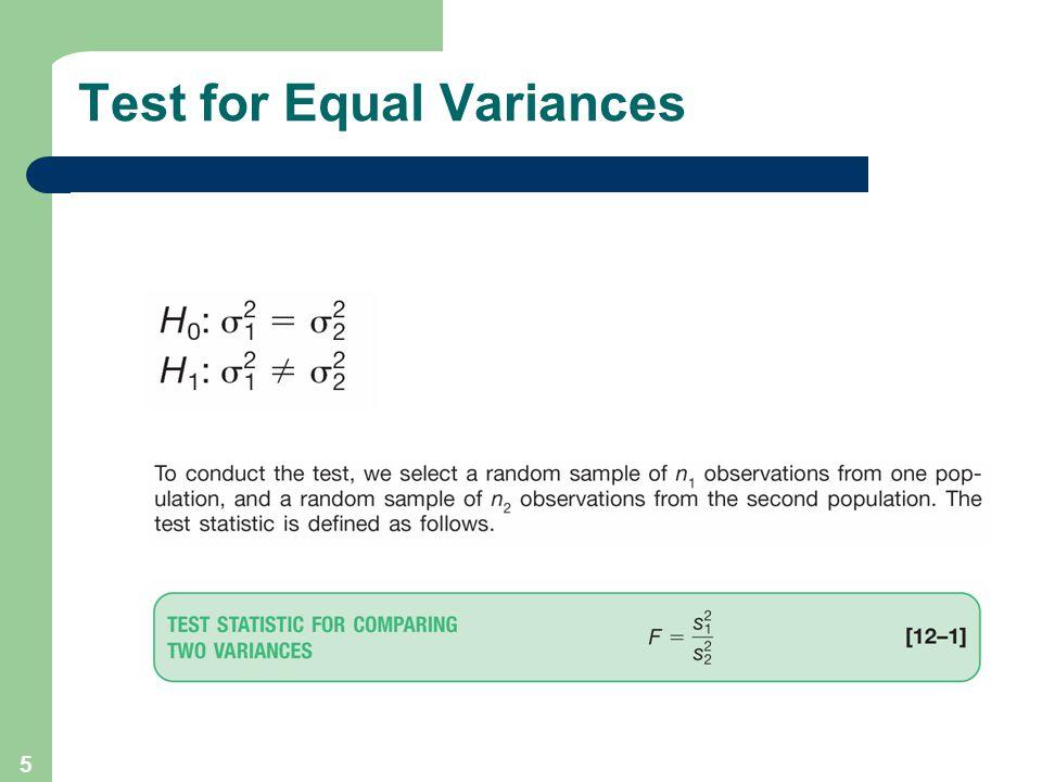 5 Test for Equal Variances